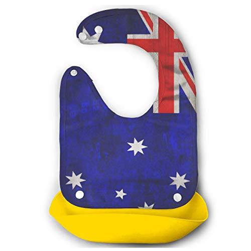 Yihengsheng Baby Bibs Easily Wipe Clean Comfortable Soft Waterproof Mouth Towel Flag of Australia Adjustable Feeding Set (Best Baby Wipes Australia)
