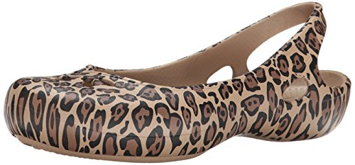 Croc Print Leather (crocs Women's Taylor Leopard Print Slingback Flat, Black/Gold, 6 B(M) US)