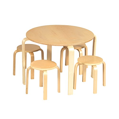 Guidecraft Nordic Natural Table & 4 Chairs Set - Kids Furniture, Activity Table (Birch Round Chair)