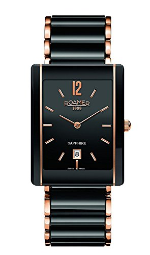 Roamer 690856-49-54-60 Ceraline Saphira Square Black Rose Gold Plated Watch
