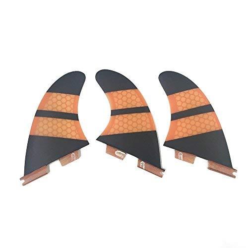 Fins 3d Carbon Set (UPSURF Surfboard Fins FCS2 K2.1 Size Base Carbon Surfing Thruster (Orange))