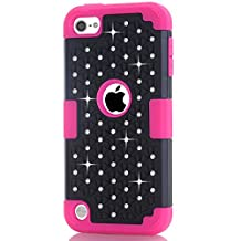 IPod Touch 5/6 Case,LUOLNH iPod Case starlight Dual Layer Protective Hard Impact Case Cover for Apple iPod touch 5th/6th Generation(Black/Hot Pink)