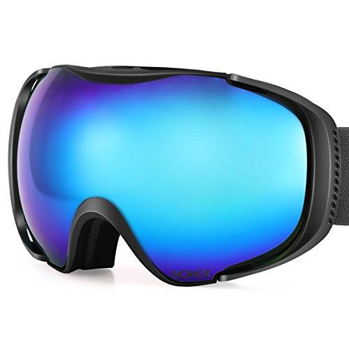 Gonex Polarized Ski Goggles Anti-fog Anti-glare Snow Goggle UV400 Protection with Oversized Double Spherical Lens for Skiing Snowboard Skate Winter Sports+ Goggle Case REVO Black Frame Blue - Blue Lens Revo