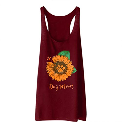 Women's Sleeveless Sunflower Printed Vest AmyDong Casual Loose Tank Tops Sports Pullover Tunic Tops ()