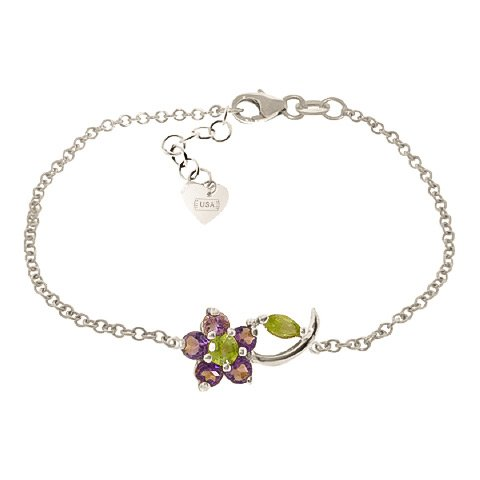 QP bijoutier Améthyste & péridot Bracelet en or blanc 9 carats-ronde - 5039W 0.87ct