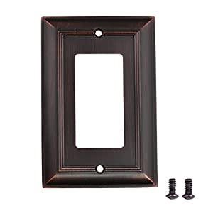 AmazonBasics Single Gang Light Switch Outlet Wall Plate, Oil Rubbed Bronze, 3-Pack