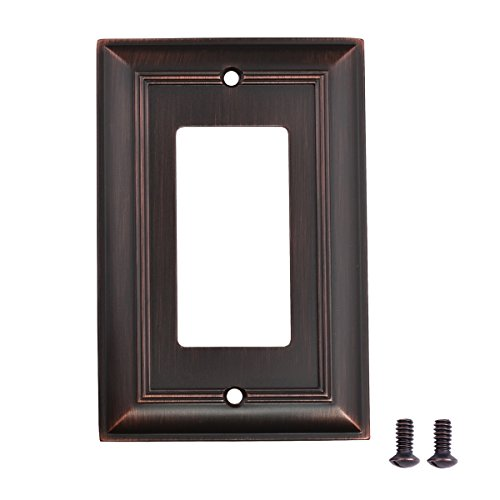 Duplex Outlet Triple Toggle Switchplate - AmazonBasics Single Gang Light Switch Outlet Wall Plate, Oil Rubbed Bronze, 3-Pack