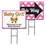 18x24 Baby Girl double sided Lawn Sign Baby Shower Kit with 6x24 H-stakes. Brightly colored Pink, Black, and Digitally Printed Gold Glitter. Baby Girl sign with a Directional Arrow sign included.
