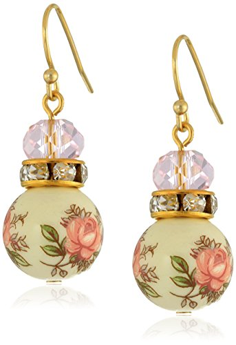 (1928 Jewelry Pink Floral Decal Beaded Drop Earrings)