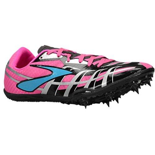 Brooks Track Shoes - Brooks Women's PR Sprint 3 Pink Glo/Black/Caribbean Sneaker 8.5 B (M)