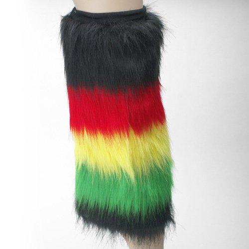 Rasta (Blak, Red, Yellow, Green) Furry Leg Warmer - One size fit all (One Pair) (Red Furry Leg Warmers)