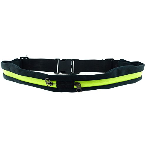 Cheap Dual Pockets Fitness Running Fitness Belts – Expandable & Water Resistant Pockets – Fits Most Phones – Adjustable and Stretchable Waistband – Bounce-Free – Durable and Lightweight (Lime)