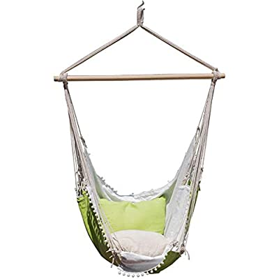 Lazy Daze Hammocks Hanging Hammock Swing Chair Outdoor Patio Porch Swing Seat with 2 Cushions and Footrest, 39.4-inch Wide Wood Spreader Bar, Capacity 350 lbs, Green/White - Hammock Swing Lounger Chair Dimensions: 47.2'' x 59.1''; 39.4'' durable Hardwood spreader bar make it more stable and stylish as well as maximizing style Each hammock swing chair has 2 throw pillows, throw pillow dimension: 19.7'' x 19.7''; Footrest dimension: 18.1'' x 14.2'' Handcrafted from comfy and durable cotton ropes of the entire chair promise enjoyment and durability - patio-furniture, patio, hammocks - 41zBI Aoz2L. SS400  -