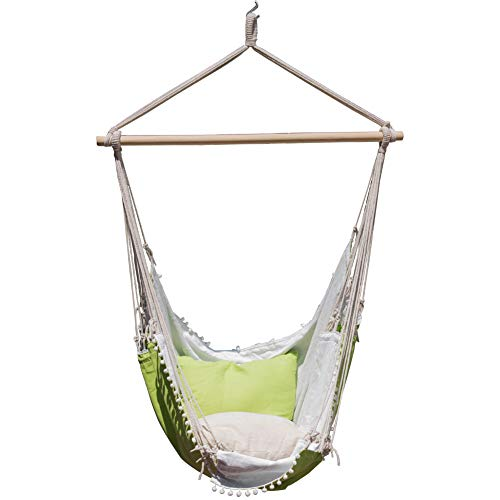 Cheap Lazy Daze Hammocks Hanging Hammock Swing Chair Outdoor Patio Porch Swing Seat with 2 Cushions and Footrest, 39.4-inch Wide Wood Spreader Bar, Capacity 350 lbs, Green/White