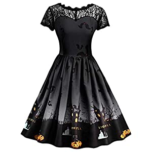 Vintage Halloween Christmas Dress for Women Fashion Lace Short Sleeve Dress Printed Swing Dress