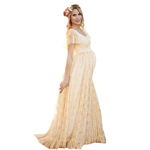 - COSYOU Maternity Dress Sexy Short Sleeve Lace Gown Dress for Women (Yellow, XXL)
