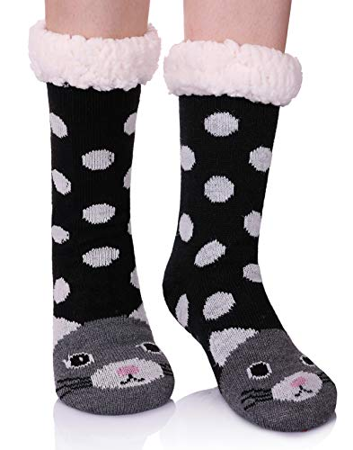 Dot Fuzzy Socks (AOXION Women's Soft Warm Cute Animal Fuzzy Fleece Lining Knitting Non-Slip Winter Slipper Socks (Dot Cat))