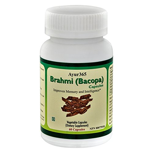 Ayur365 Brahmi/Bacopa Capsules for Mental Agility, Cognitive Health & Memory Enhancement 60ct. by Ayur365