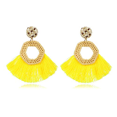 - Women Girls Rattan Hoop Tassels Earrings Bohemian Handmade Lightweight Drop Earrings Fan Tassel Rattan Earrings (Yellow)