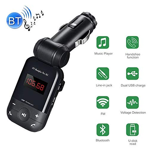 Lyperkin Bluetooth FM Transmitter, Wireless Bluetooth FM Radio Adapter with Voltage Display, Single USB Charging Port,with TF Card,U-Disk,Hands Free Calling,Compatible with iOS/Andriod Phone/Pad.