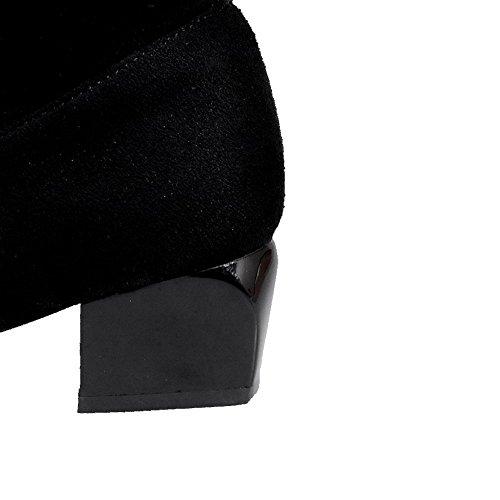 Unie Noir Femme Talon Élevé Dépolissement Couleur Haut Correct Zip à Bottes VogueZone009 1WBwxq8B