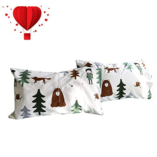 (BuLuTu Cotton Siberia Forest Theme Bed Pillowcases Set of 2 Queen White/Green Kids Pillow Covers Decorative Standard for Boys Envelope Closure End-Premium,Ultra Soft,Hypoallergenic (2 Pieces,20