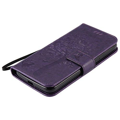 OuDu Funda Motorola Moto G4 Play Carcasa de Billetera Funda PU Cuero para Motorola Moto G4 Play Carcasa Suave Protectora con Correas de Teléfono Funda Arbol Flip Wallet Case Cover Bumper Carcasa Flexi