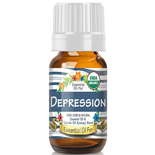 Essential Oil for Depression (USDA Organic - 100% Pure) Unique Blend of Essential Oils Recomended by Aromatherapists for Aromatherapy - 10ml