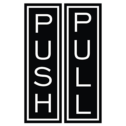 Push Pull Vertical Standard Door Sign w/ Border (Black) - Large