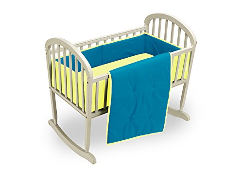 Baby Doll Bedding Reversible Cradle Bedding, Aqua/Yellow