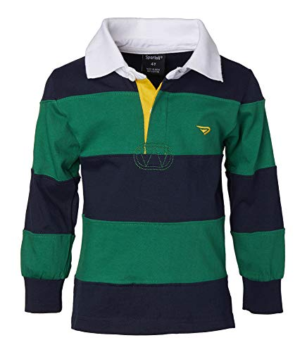 Sportoli Big Boys 100% Cotton Wide Striped Long Sleeve Polo Rugby Shirt - Green (Size 14)
