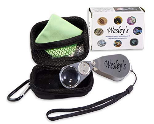 Watchmakers Magnifier - Wesley's 40X Jewelers Loupe Magnifier LED/UV Illuminated, Includes a Sturdy EVA Travel Carrying Case, Jewelers Magnifying Glass for Gardening, Kids,Coin, Stamp and Rock Collecting