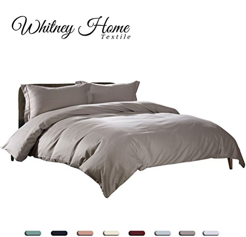 Hotel Quality High Thread Count 100% Natural Cotton Percale Duvet Cover Set Queen Size Grey 3 Pieces, Ultra Soft Hypoallergenic Breathable Comforter Case,Quilt Cover with Zipper Ties Solid Bedding (Percale Comforter Set)