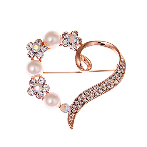 Dwcly Valentine's Day Presents Rose Gold-Tone Crystal Simulated Pearl Flower Love Heart Brooches Bridal Women Brooch Pin (Gold)