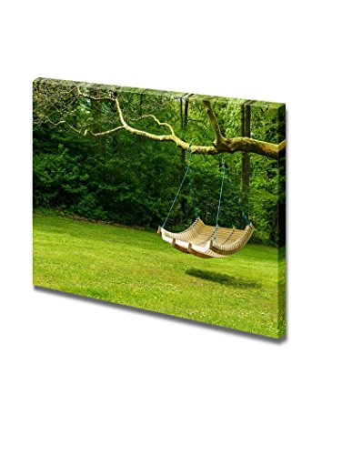 Curved Swing Bench Hanging from the Bough of a Tree for Relaxing on Hot Summer Days Home Deoration Wall Decor ing