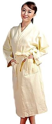 BIFINI Women's Men's Waffle Weave Kimono Collar Adult Unisex Bathrobe, Cotton
