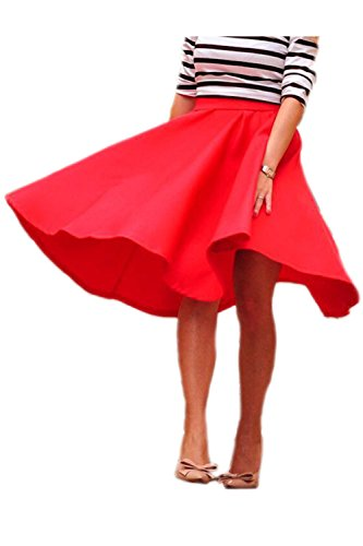 Sólida rodilla OL falda salvaje de las mujeres Red