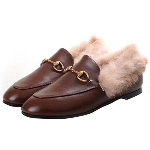 Enmayer Dames Zwarte Retro Mode Loafers Ronde Neus Glijdt Op Platte Buiten Pantoffels Met Harige En Gesp Bruin