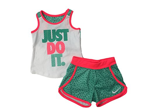 Price comparison product image NIKE Little Girls 2 Piece Tank Top and Shorts Set (Kinetic Green (26D271-E8B)/Vivid Pink, 2T)