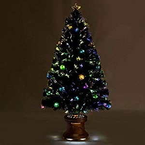 Safeplus Artificial Christmas Tree with Fiber Optic Filaments, Colorful Balls and Golden Star (4ft) 14