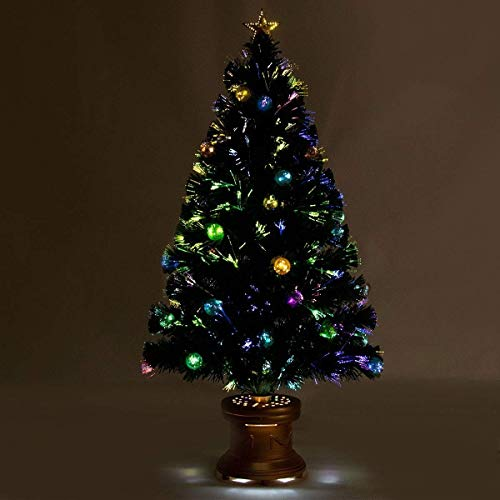 Safeplus Artificial Christmas Tree with Fiber Optic Filaments, Colorful Balls and Golden Star - Christmas Fiber Tree Optic