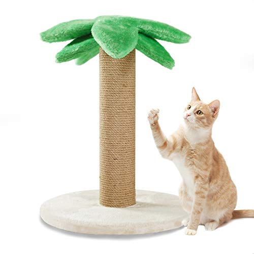 Luckitty Small Cat Scratching Posts Kitty Coconut Tree-Cat Scratch Post Cats Kittens - Plush Sisal Scratch Pole Cat Scratcher 18in
