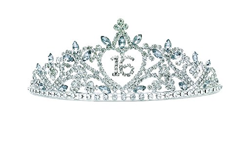 Arsimus Sparkly Rhinestone Tiara 16th Birthday Sweet (Sparkly Sweet)