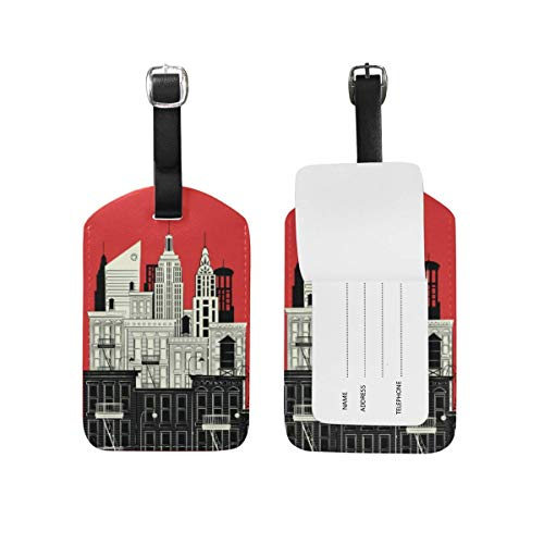 NgkagluxCap New York in Style Sketch NYC Red Leather Luggage Tags Personalized Funny Travel Baggage Labels with Privacy Cover Set Of 2