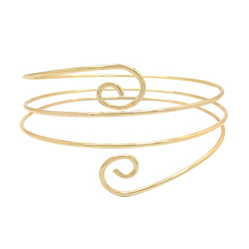 Rosemarie Collections Women's Metal Swirl Double Twist Arm Cuff Armband (Gold Tone) (Arm Band Jewelry)