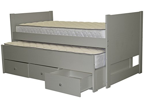bedz king twin captains bed with twin trundle and 3 drawers gray