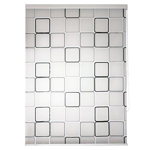 TEXMAXX Duschrollo im Viereck-Retro-Design ( DROLLO2 ), 140 cm breit Halb-Kassetten Duschvorhang mit Seitenzug, mit weißen Leisten - inkl. Zubehör
