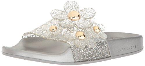 Marc Jacobs Women's Daisy Aqua Slide Sandal, Silver, 38 M EU (8 US)