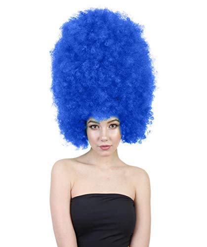 Halloween Party Online Super Size Jumbo Afro Wig Collection, Adult & Kids (Adult, Dark Blue)