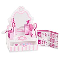 Melissa & Doug Melissa & Doug Wooden Beauty Salon Play Set With Vanity and Accessories (18 pcs) Role Play Toy